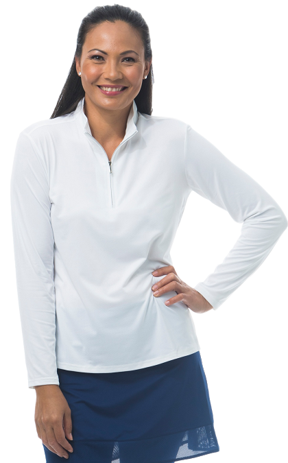 900322 SanSoleil SolShine Long Sleeve Mock. White